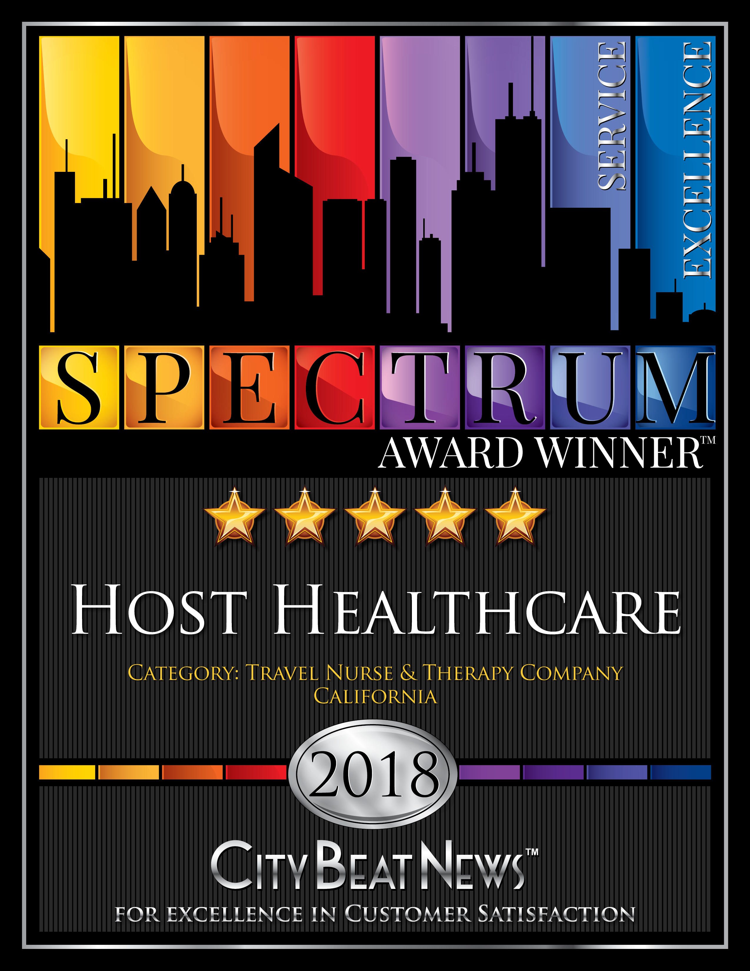 Five-Star, 2018 City Beat News Spectrum Award Winner, Host Healthcare