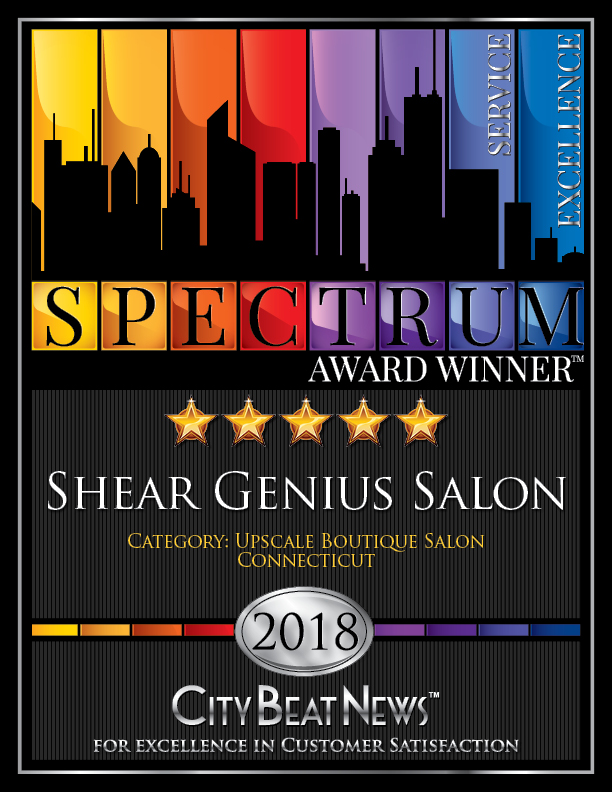 Five-Star City Beat News Spectrum Award Winner, Shear Genius Salon certificate