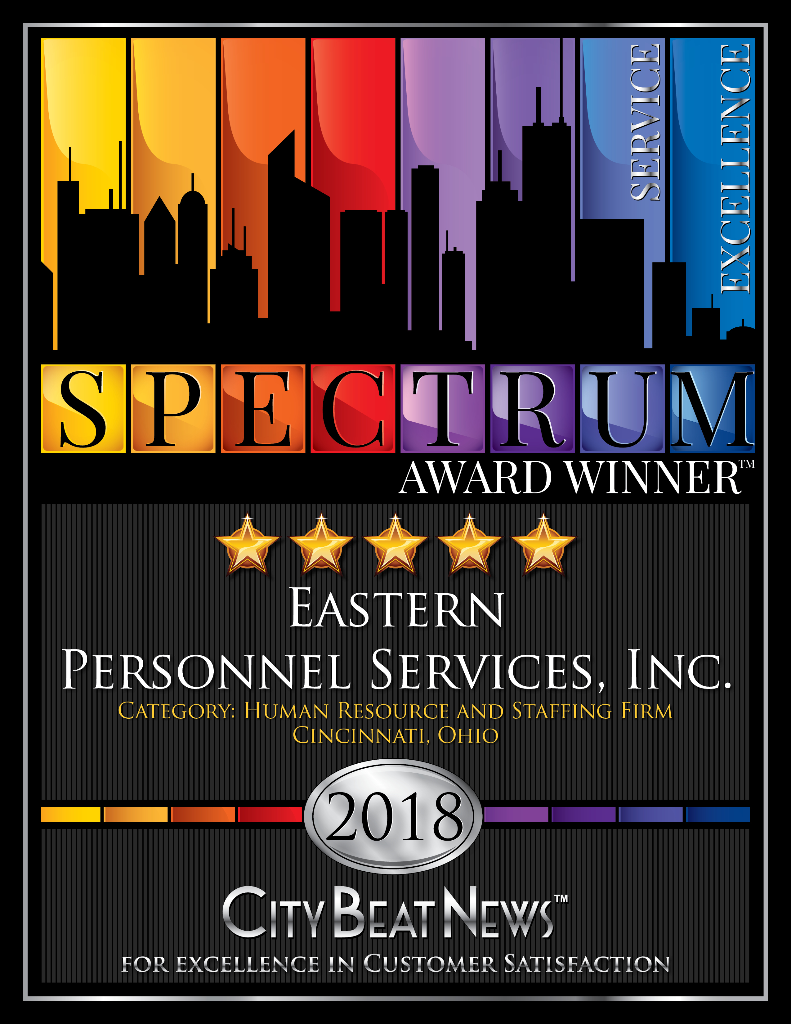 Five-Star 2018 City Beat News Spectrum Award Winner, Eastern Personnel Services, Inc., certificate