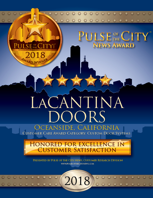 Five-Star Pulse of the City News Award Winner, LaCANTINA Doors certificate