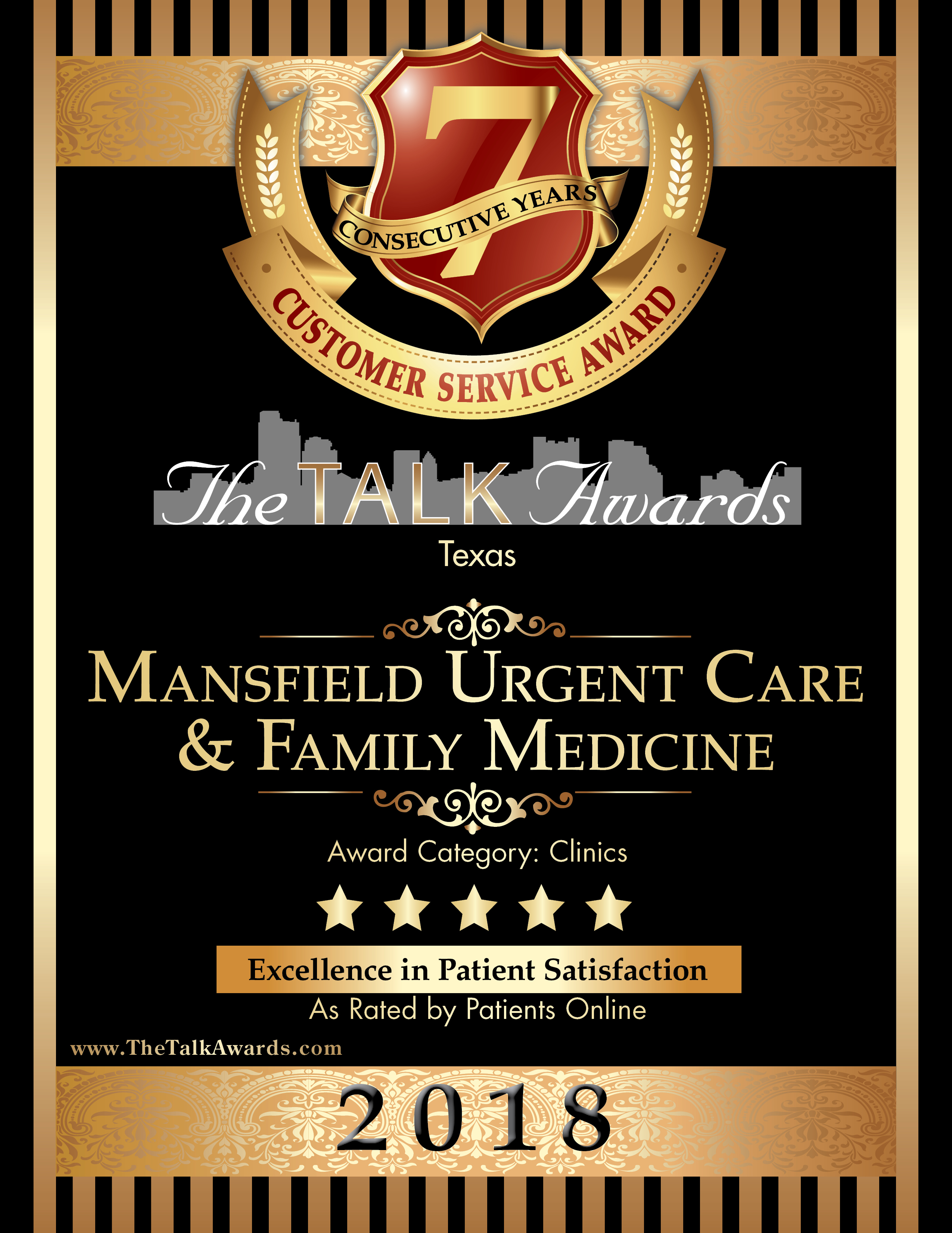 Five Star, TALK Award Winner, Mansfield Urgent Care & Family Medicine Certificate