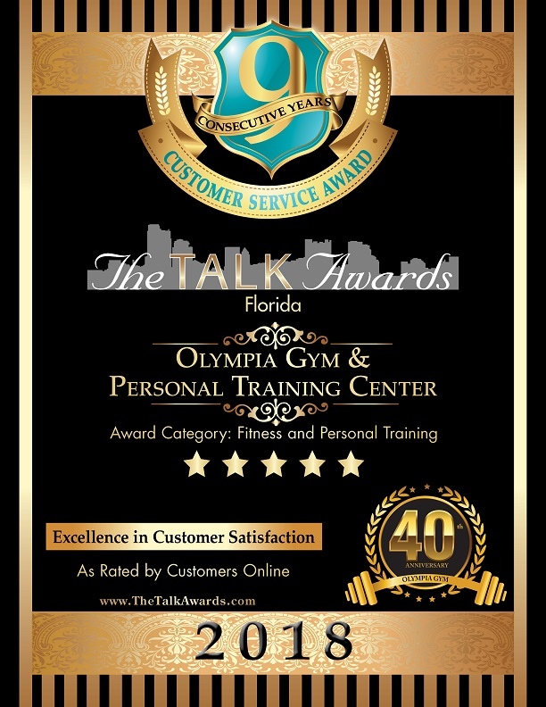 Olympia Gym 2018 TALK AWARDS Certificate