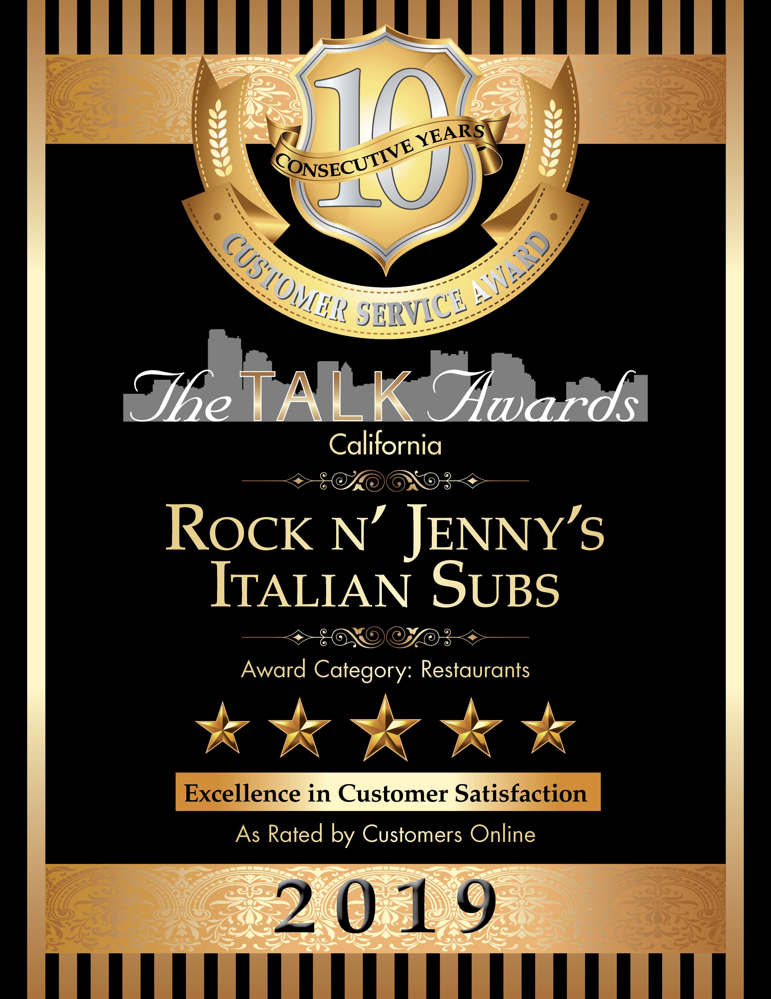 Talk Awards 2019 Winner, Rock N Jenny's